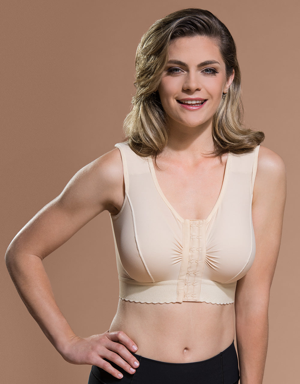 Marena Recovery BR bra front view in beige showing hook-and-eye front closure.