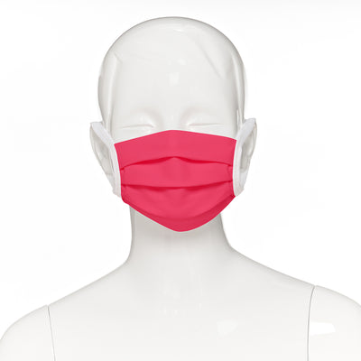 Child face mask , 500 pack , front view shown on mannequin in hot pink fabric with white elastic straps