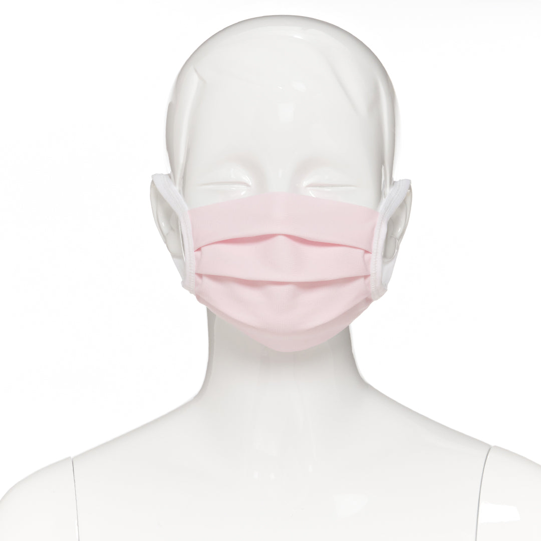 Child face mask , 10 pack , front view  shown on mannequin in light pink fabric with white elastic straps