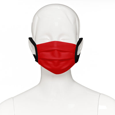 Child face mask , 4 pack , front view shown on mannequin in red fabric with black elastic straps