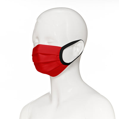 Child face mask , 2 pack , side view shown on mannequin in red fabric with black elastic straps