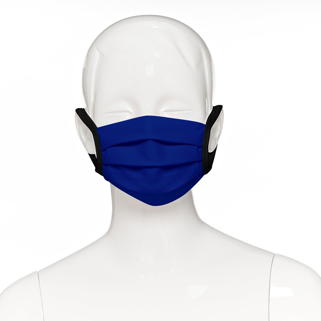 Child face mask , 50 pack , front view shown on mannequin in royal blue fabric with black elastic straps