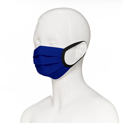 Child face mask , 50 pack , side view shown on mannequin in royal blue fabric with black elastic straps
