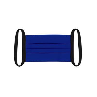 Child face mask , 2 pack , flat lay view in royal blue fabric with black elastic straps