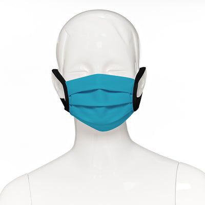 Child face mask , 4 pack , front view shown on mannequin in teal fabric with black elastic straps