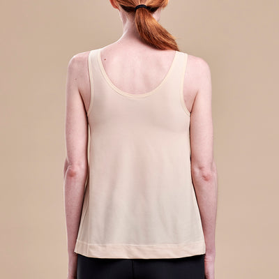 Caress by Marena Pocketed Drain Bulb Management Mastectomy Camisole with front zipper, back view, beige
