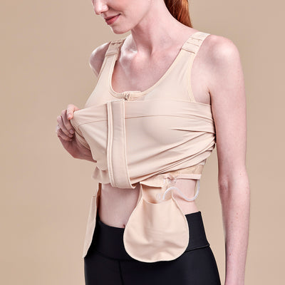 Caress by Marena Pocketed Drain Bulb Management Mastectomy Camisole, Drain Bulb Pouch View, beige