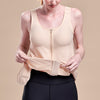 Caress by Marena Pocketed Drain Bulb Management Mastectomy Camisole with front zipper, lifting front view, beige