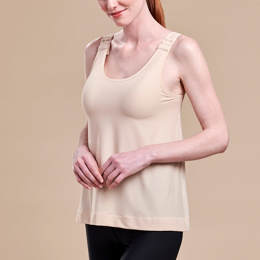 Caress by Marena Post-Mastectomy Camisole, front view, in beige