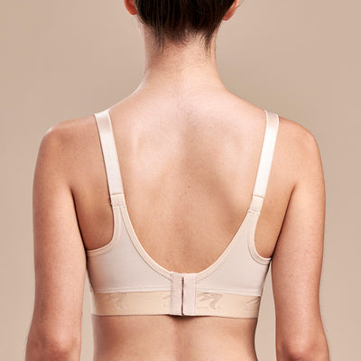 Caress by Marena Mastectomy Ultra-Low Coverage Pocketed Zip-Front Bra, back view, beige