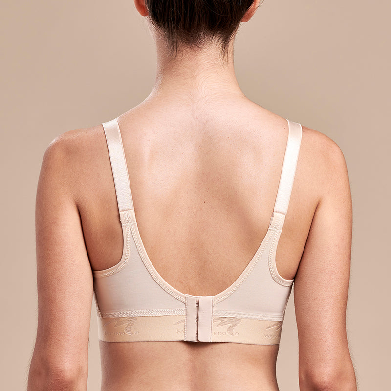 Caress by Marena Mastectomy Ultra-Low Coverage Pocketed Zip-Front Bra, front view, beige