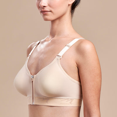 Caress by Marena Mastectomy Ultra-Low Coverage Pocketed Zip-Front Bra, side view, beige