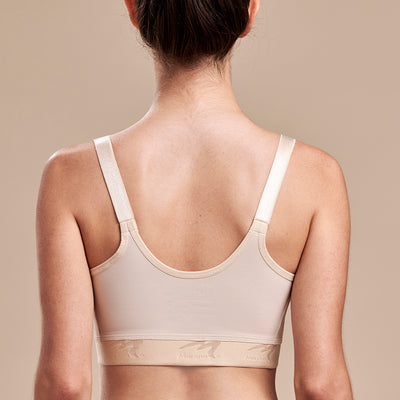 Caress by Marena Low-Coverage Pocketed Mastectomy Bra, back view, beige