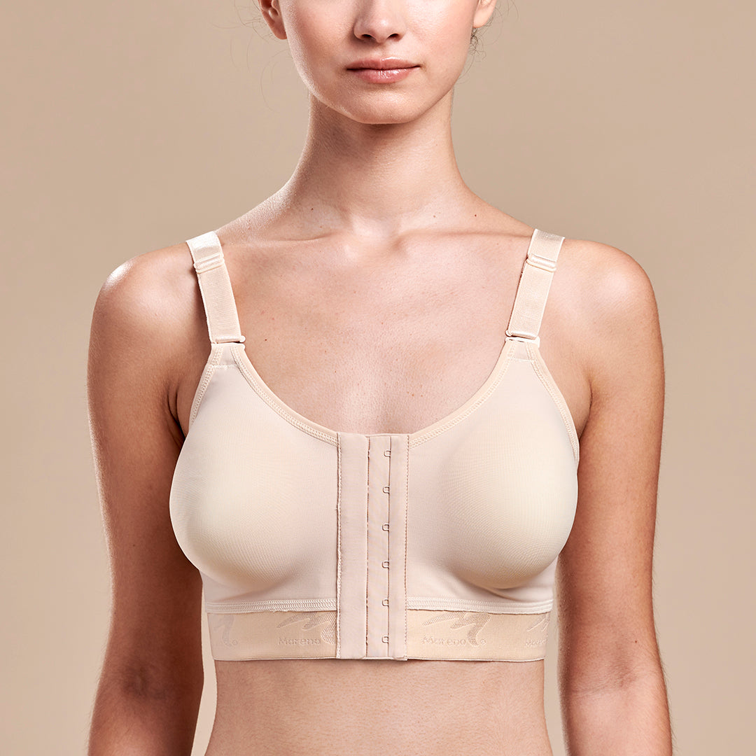 Caress by Marena Low-Coverage Pocketed Mastectomy Bra, front view, beige