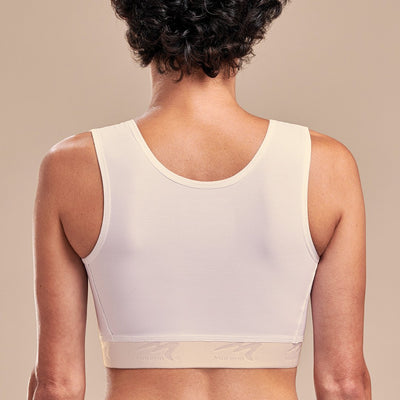 Caress by Marena High Coverage Pocketed Bra, back view, beige