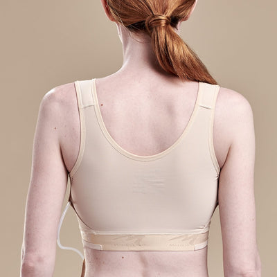 Caress by Marena Mastectomy Pocketed Drain Bulb Management Bra, back view, beige