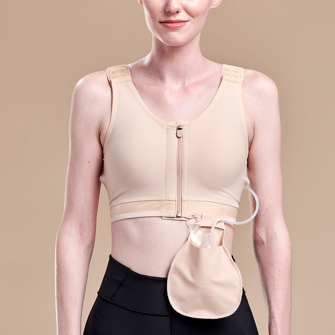 Caress by Marena Mastectomy Pocketed Drain Bulb Management Bra, front view, beige