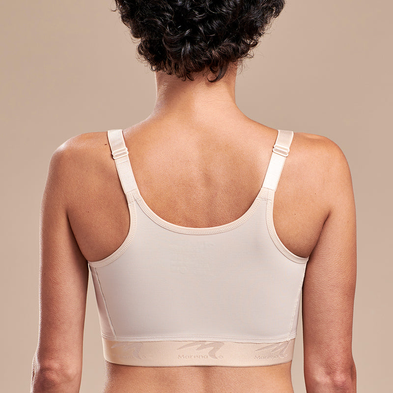 Caress y Marena Mastectomy Medium Coverage Pocketed Bra, front view, beige