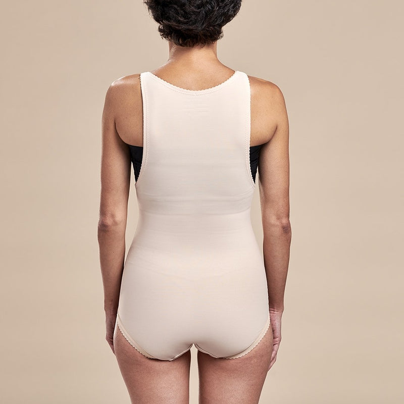 Marena Recovery style FBA2 zipperless bikini length compression girdle with suspenders, front view in beige