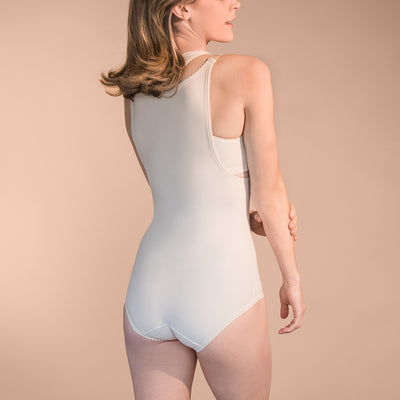 Marena Recovery style FBA bikini-length compression girdle, back view in beige.
