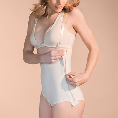 Marena Recovery style FBA bikini-length compression girdle, side zipper view in beige.