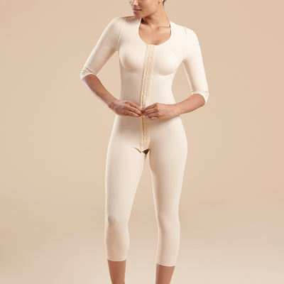 Marena Recovery style FBBMSM calf length compression bodysuit, front view in beige