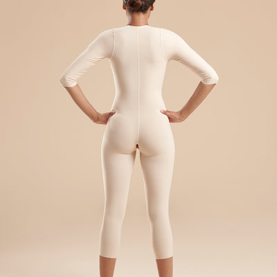 Marena Recovery style FBBMSM calf length compression bodysuit, back view  in Beige