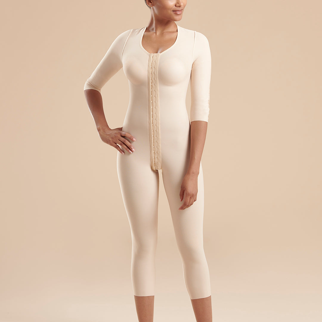 Marena Recovery style FBBMSM calf length compression bodysuit , front view  in Beige