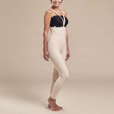 Marena Recovery, style FBL2 Girdle, side view in beige showing crossing straps