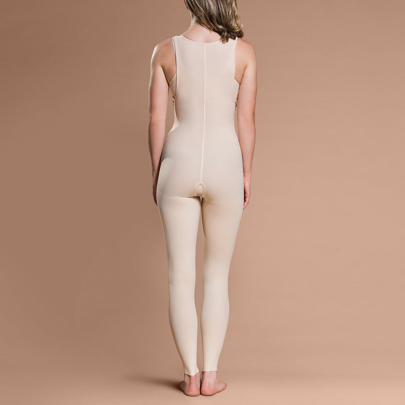 Marena Recovery FBL ankle-length compression girdle front view in beige.