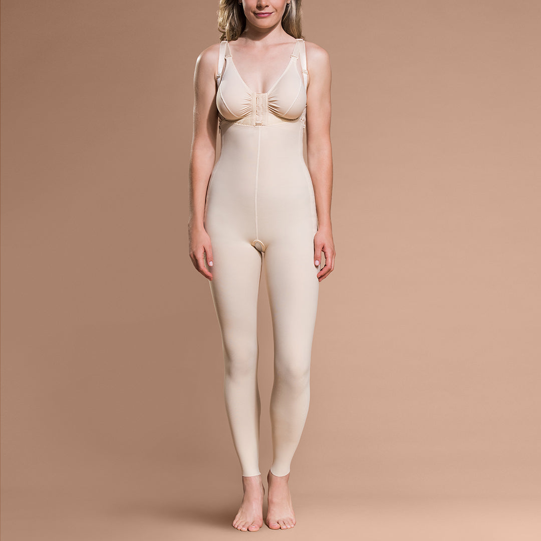 Marena Recovery style FBL ankle-length compression girdle, front view in beige.