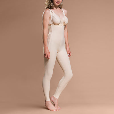 Marena Recovery style FBL ankle-length compression girdle, side pose view in beige.