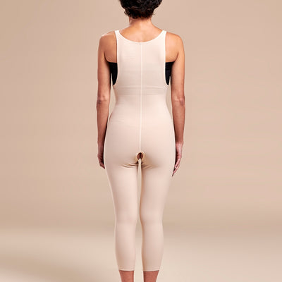 Marena Recovery style FBM2 zipperless compression girdle with suspenders, back view in beige