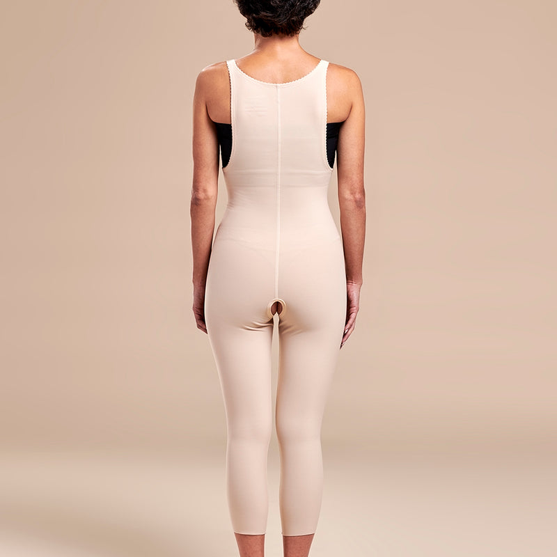 Marena Recovery style FBM2 zipperless compression girdle with suspenders,  front view in beige