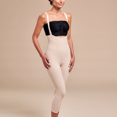 Marena Recovery style FBM2 zipperless compression girdle with suspenders, side pose view in beige