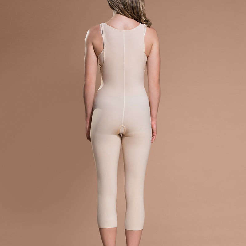 Marena Recovery style FBM calf-length compression girdle, front view in beige.