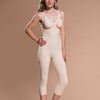 Marena Recovery FBM calf-length compression girdle front view in beige showing side-zipper closure.