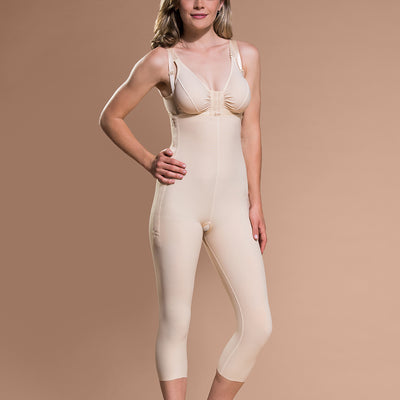 Marena Recovery style FBM calf-length compression girdle, front pose view in beige.