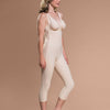 Marena Recovery FBM calf-length compression girdle side view in beige showing side-zipper closure.