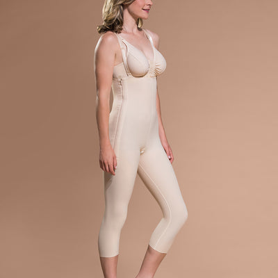 Marena Recovery style FBM calf-length compression girdle, size zipper view in beige.