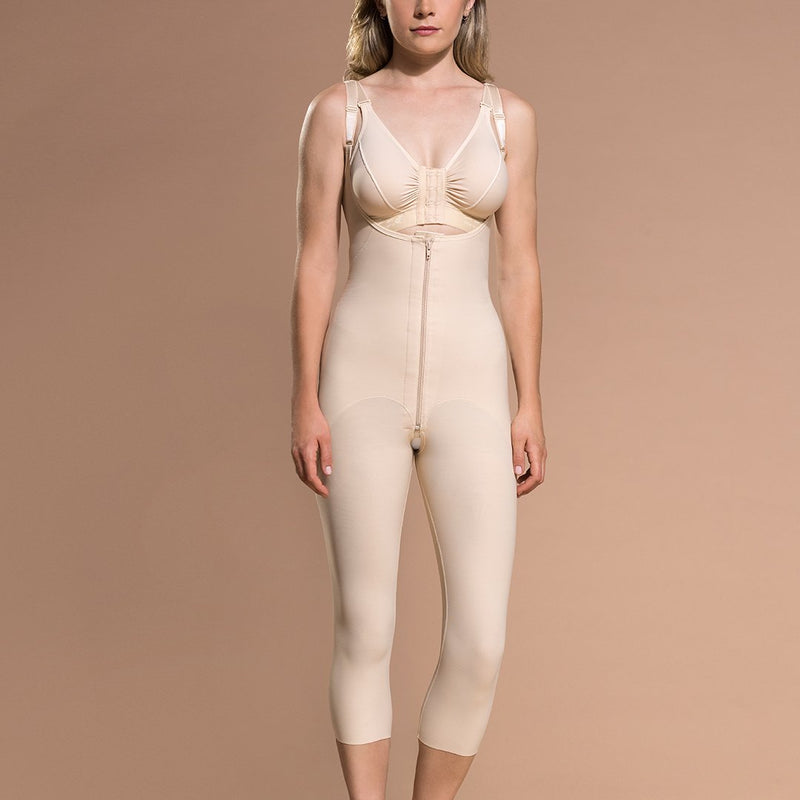 Marena Recovery FBOM calf-length open-buttock compression back view in beige showing sacral pad and open buttock.