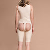 Marena Recovery style FBOS short length open-buttock compression girdle, back view in beige showing sacral pad and open buttock.