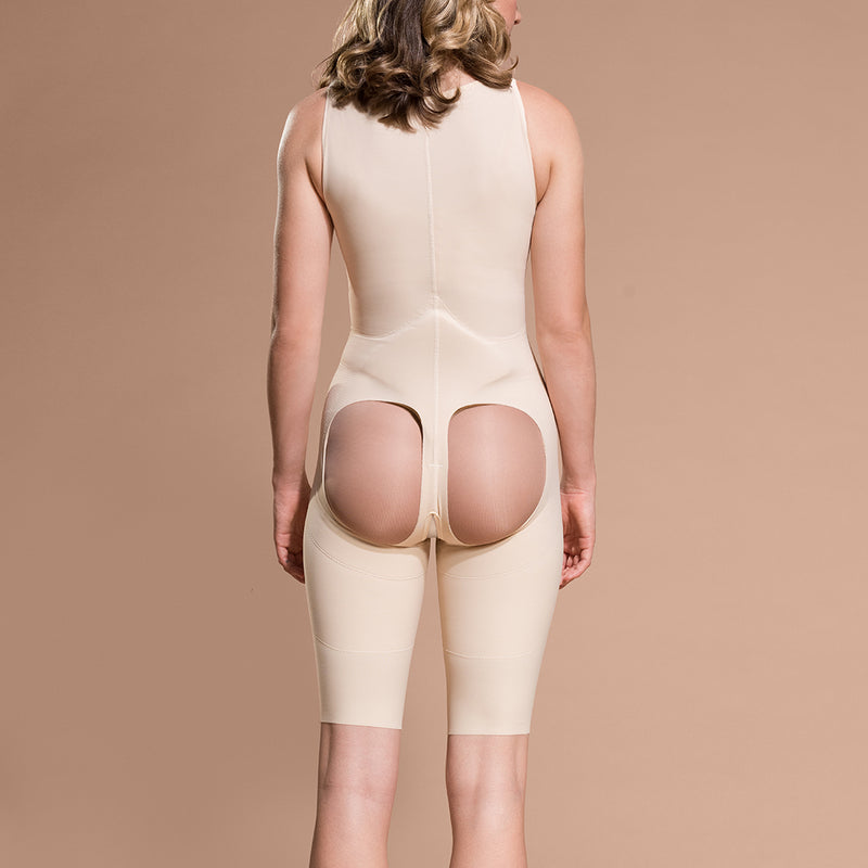 Marena Recovery style FBOS short-length open-buttock compression girdle, front view in beige showing front zipper closure.