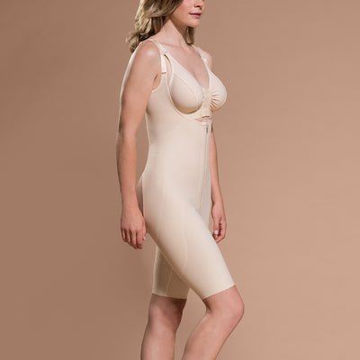 Marena Recovery FBOS short-length open-buttock compression side view in beige showing open buttock.