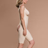 Marena Recovery style FBOS short length open-buttock compression girdle, side view in beige