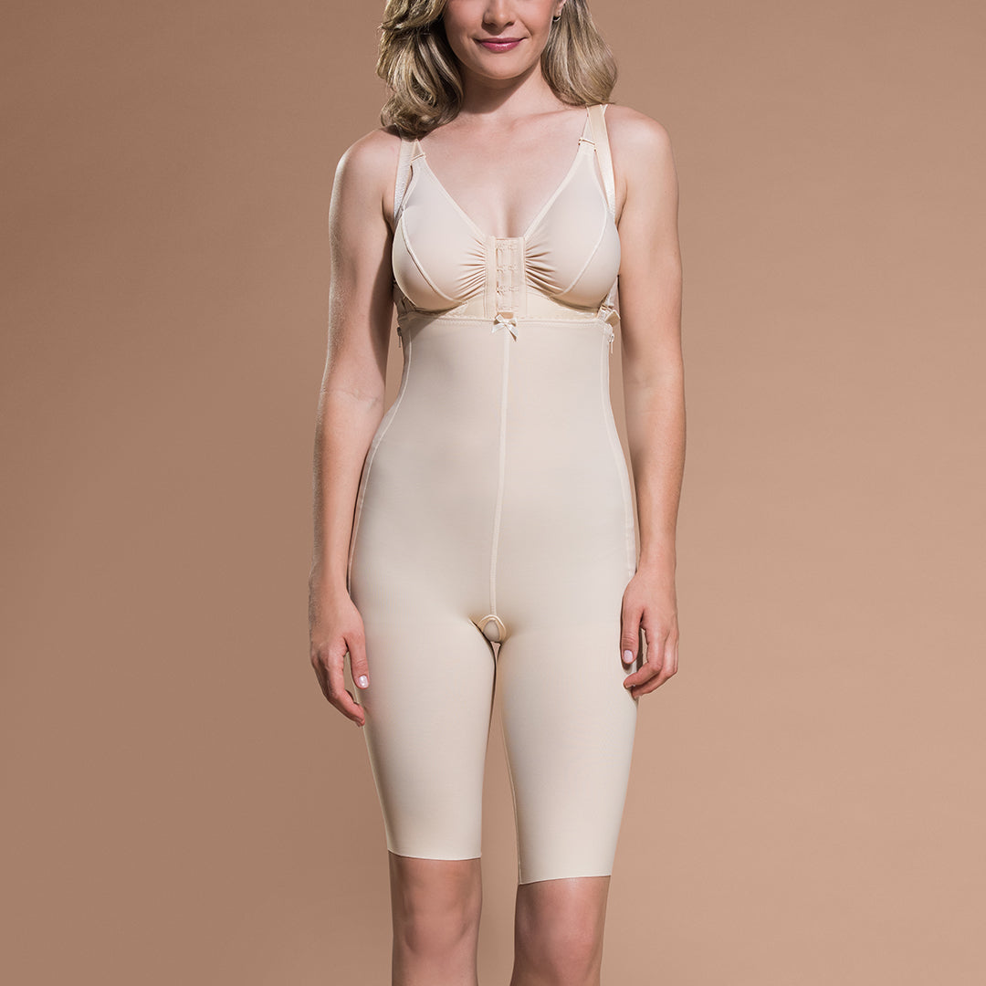 Marena Recovery FBS short-length compression girdle, front view in beige.