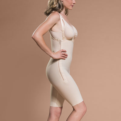Marena Recovery FBS short-length compression girdle side view in beige showing side-zipper closure.