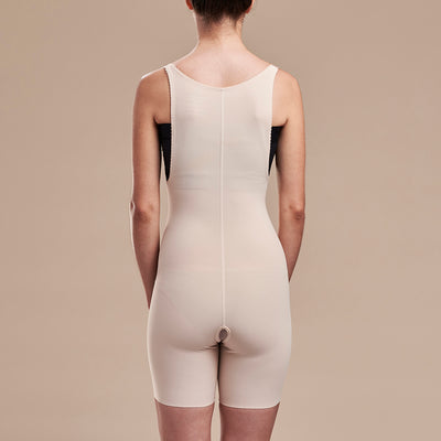 Marena Recovery style FBT2 mid thigh length compression girdle with suspenders, back view in beige