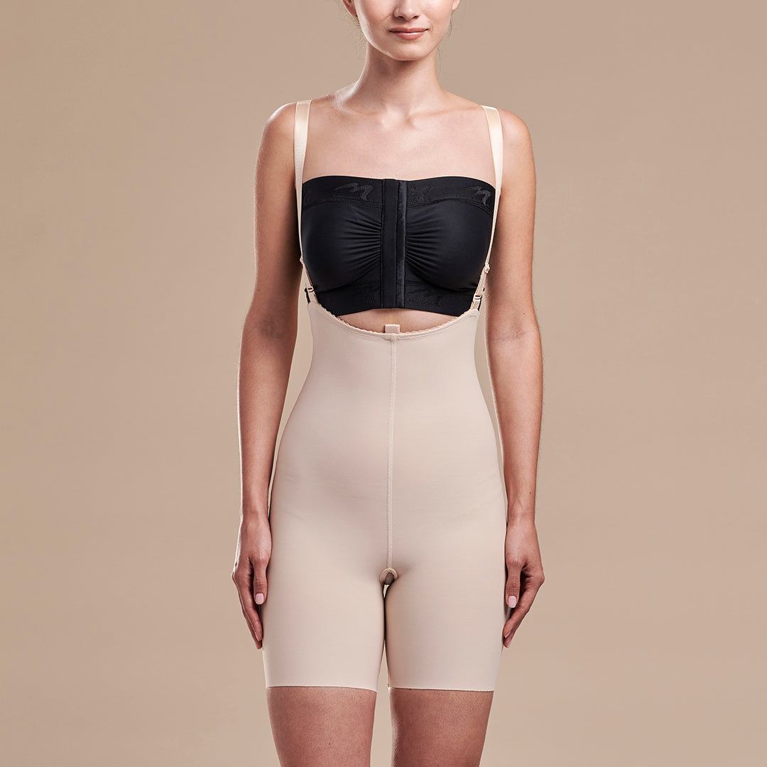 Marena Recovery style FBT2 mid thigh length compression girdle with suspenders, front view in beige