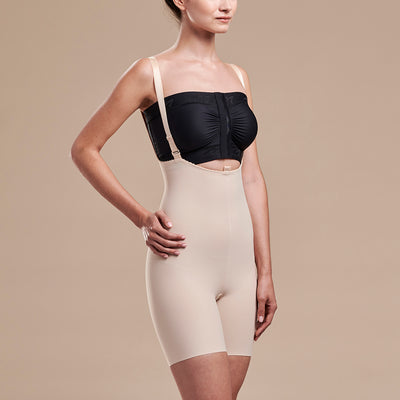 Marena Recovery style FBT2 mid thigh length compression girdle with suspenders, side view in beige